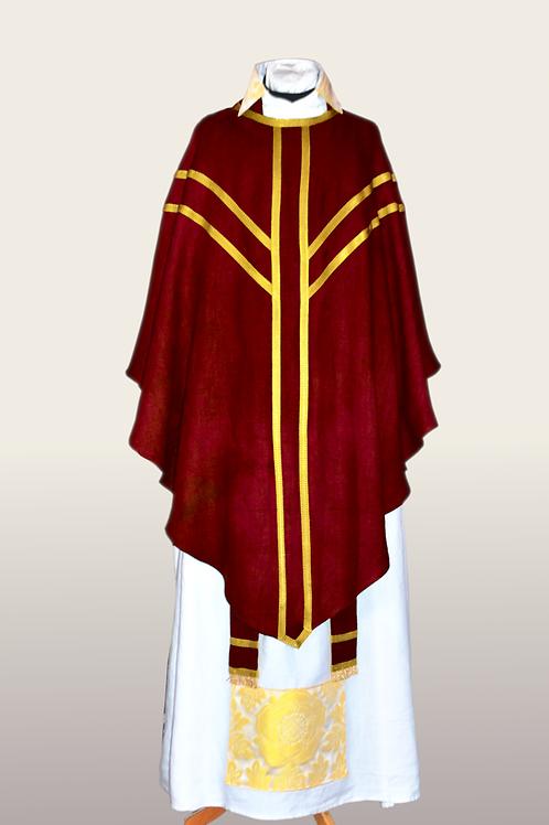 Red Hand Dyed Linen Mass Set