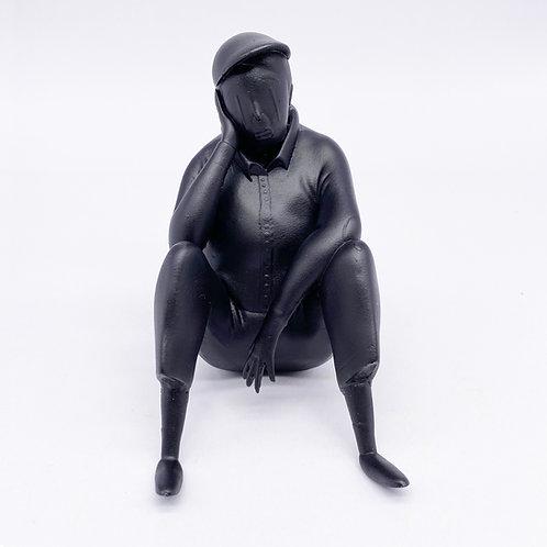 Alex Senna Sitting Man Resin Sculpture