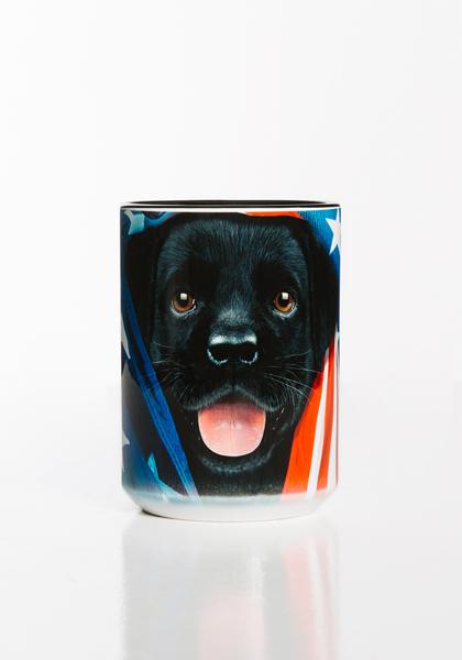 Patriotic Black Lab Pup Mug