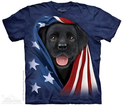Kids Patriotic Black Lab Pup T-Shirt