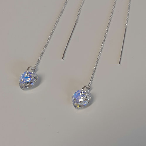 "6"" 925 Sterling Silver & 10mm Swarovski Crystal ab Heart Threader Earrings"