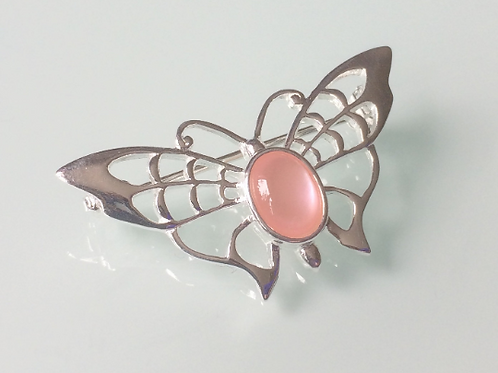 925 Sterling Silver Butterfly and Pink Mother of Pearl Butterfly Brooch