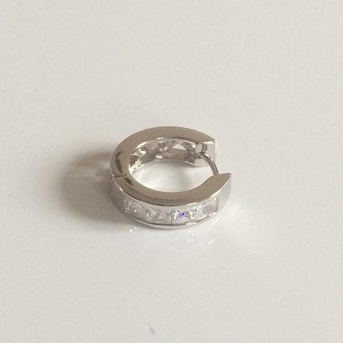 Men's SINGLE 925 Sterling Silver 15mm Cubic Zirconia Huggie Earring