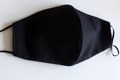 handmade facemask washable re-useable cotton 2 layer Plain Black