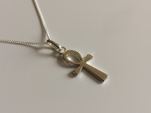 925 Sterling Silver ankh cross pendant/necklace