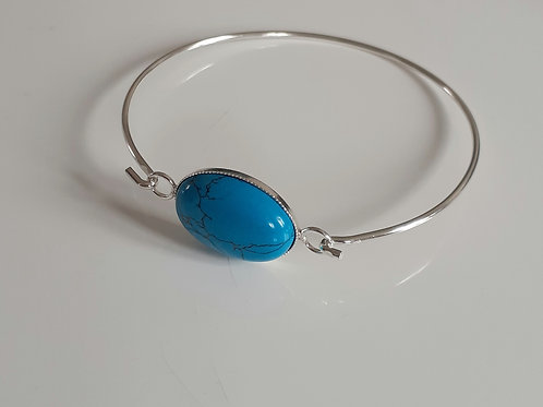 925 Sterling Silver bangle with a milled edge Link with an 18x13mm Turquoise