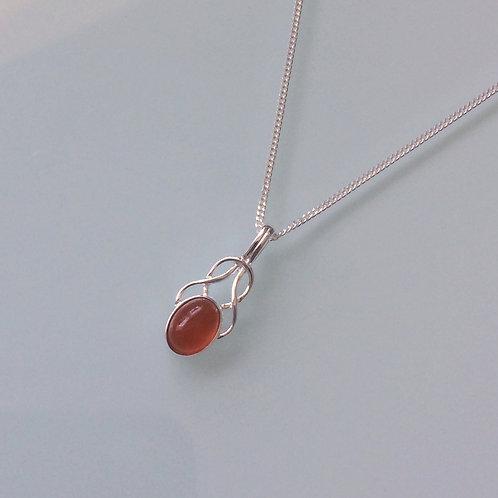 925 Sterling Silver Small Fancy Carnelian Celtic Necklace