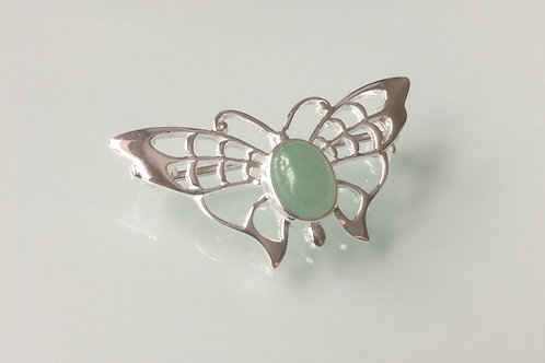 925 Sterling Silver Butterfly and Aventurine Butterfly Brooch