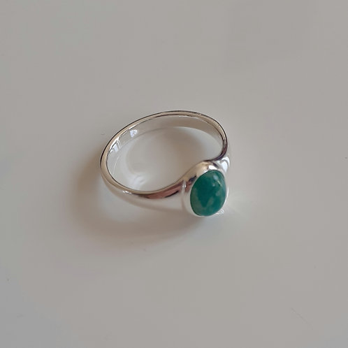 925 Sterling Silver and Russian Amazonite Small Signet Ring Sizes J - R