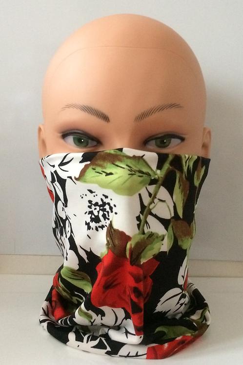 handmade unisex, biker snood, neck tube, polyester elastane - black and red rose