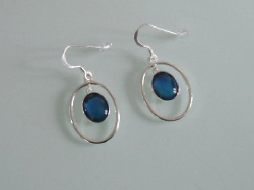 925 sterling silver and Blue Abalone oval drop earrings