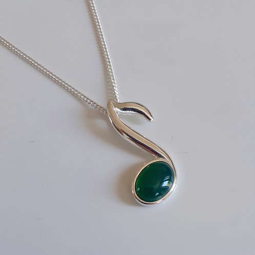 925 Sterling Silver and Green Agate Small Music Note Necklace