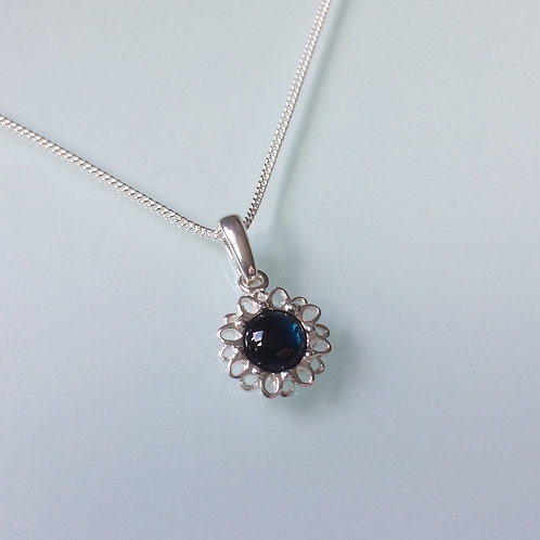 925 Sterling Silver and Blue Abalone Cabochon Dainty Daisy Necklace