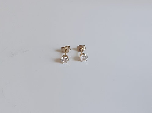 9ct Gold 3mm round clear cubic zirconia stud earrings