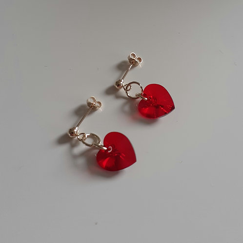 9ct Gold Swarovski Crystal Siam Red Heart Drop Stud Earrings