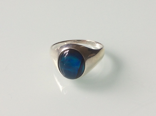 925 Sterling Silver and Blue Abalone Unisex Signet Ring Sizes K - R