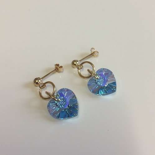 9ct Gold Swarovski Crystal Aqua AB Heart Drop Stud Earrings