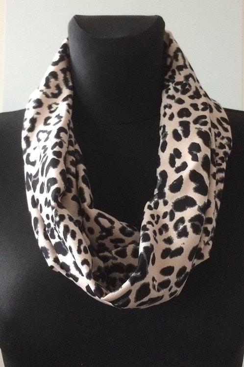 handmade cowl, snood, neck warmer, scarf, polyester elastane pink leopard print