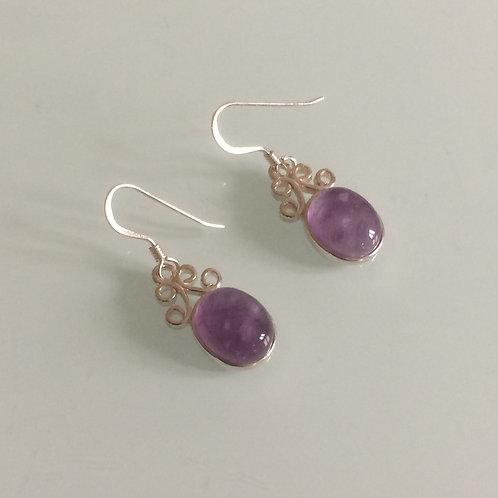 925 Sterling Silver & Amethyst Small Scroll Drop Earrings