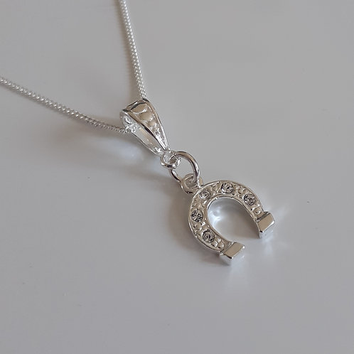 925 Sterling Silver and Swarovski crystal Horse Shoe Necklace