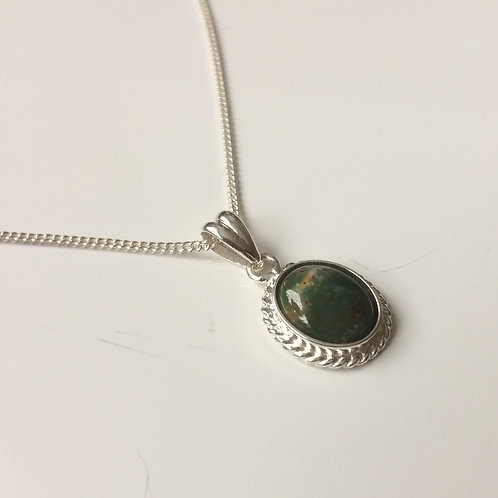 925 Sterling Silver Rope Edge 14 x 11mm Unakite Pendant Necklace