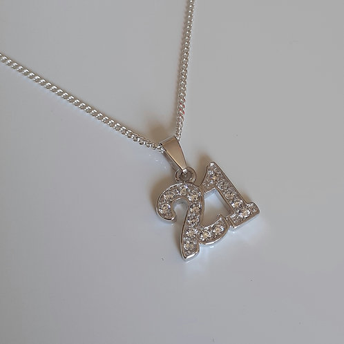 925 Sterling Silver and cubic zirconia 20th Necklace