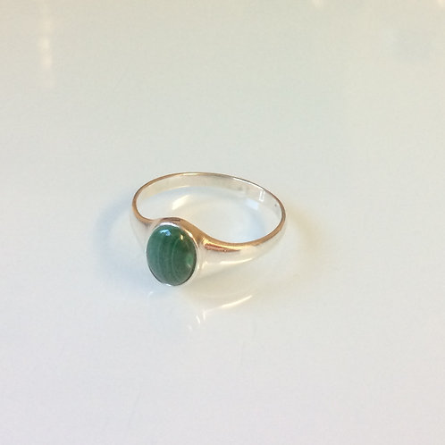 925 Sterling Silver and Malachite Small Signet Ring Sizes J - R