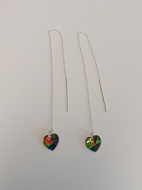 925 Sterling Silver & Swarovski Crystal Vitrail Medium Heart Threader Earrings