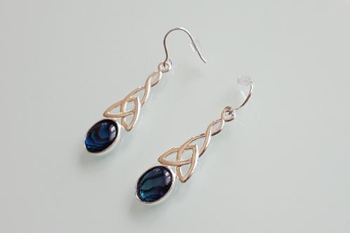 925 Sterling Silver & Blue Abalone Shell long celtic drop Earrings