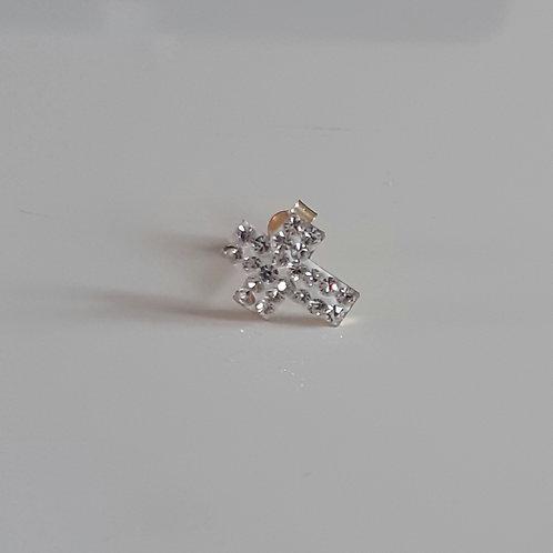 Men's SINGLE 9ct Gold clear crystal Cross stud earring
