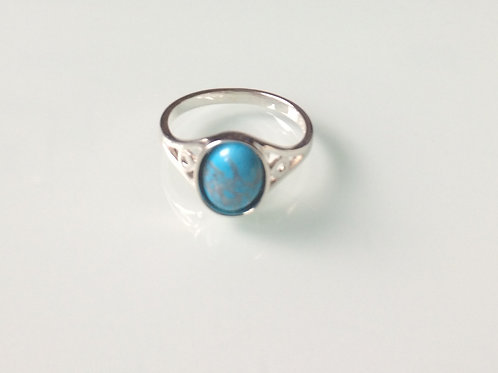 925 Sterling Silver and Turquoise Ladies Ring sizes J - R