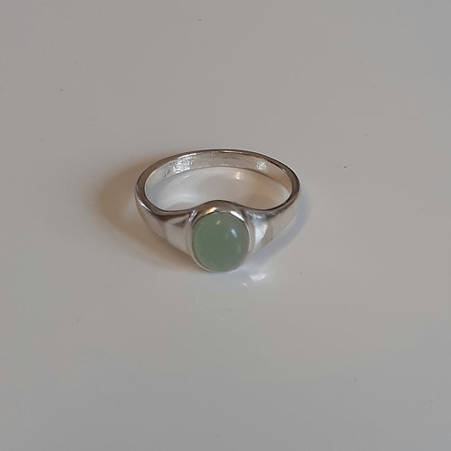925 Sterling Silver and Aventurine Small Signet Ring Sizes J - R