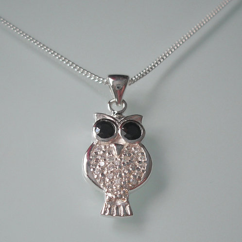 925 Sterling Silver and cubic zirconia Owl Necklace