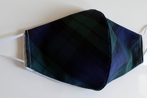 handmade facemask washable re-useable cotton 2 layer green/blue tartan