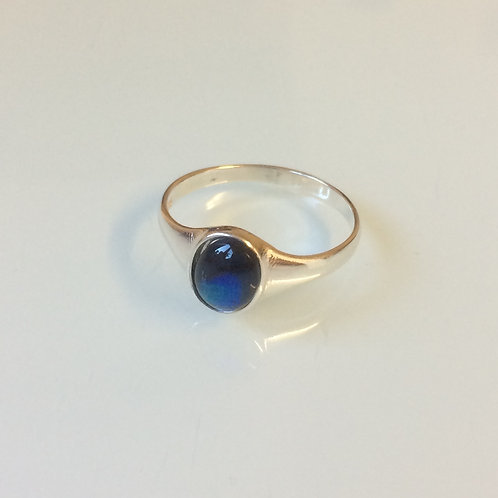 925 Sterling Silver and Blue Abalone Small Signet Ring Sizes J - R