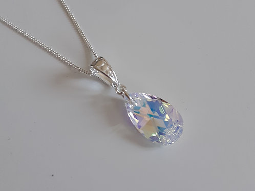 925 Sterling Silver and Swarovski Crystal AB 16mm Pear Drop Necklace