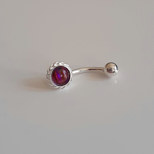 925 Sterling Silver & Surgical Steel Rope Edge Red Abalone Belly Bar