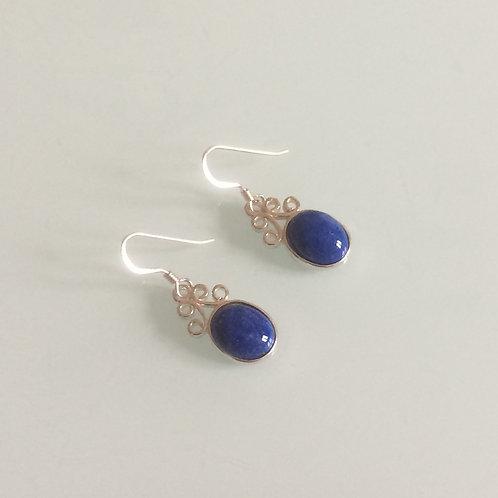 925 Sterling Silver & Lapis Lazuli Small Scroll Drop Earrings