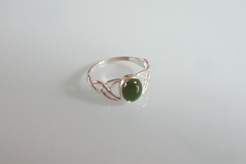 925 Sterling Silver Ladies Celtic Ring set with a New Jade Stone - sizes J - R