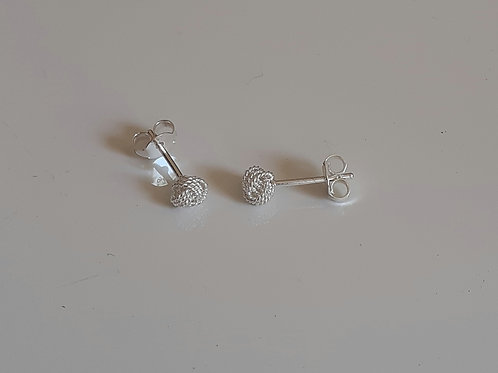 925 Sterling Silver Textured Knot Stud Earrings - available in 3 sizes