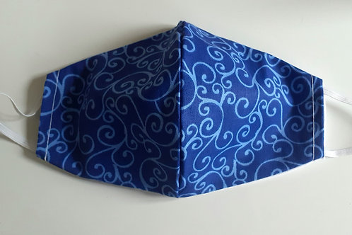 handmade facemask washable re-useable cotton 2 layer blue swirl face covering