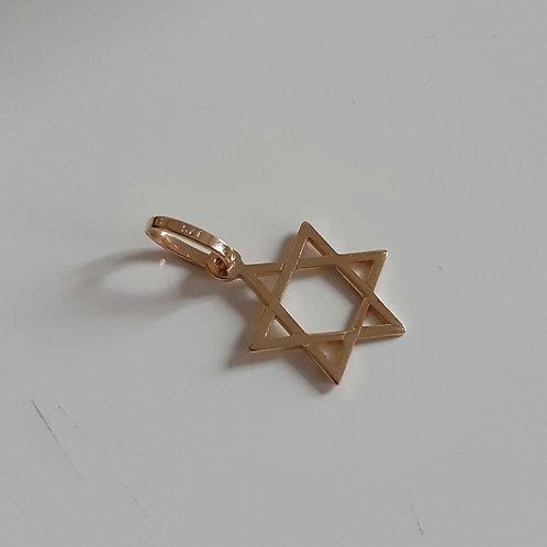 9ct Gold small star of david charm pendant 0.5g