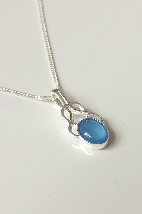 925 Sterling Silver Small Fancy Blue Agate Celtic Necklace