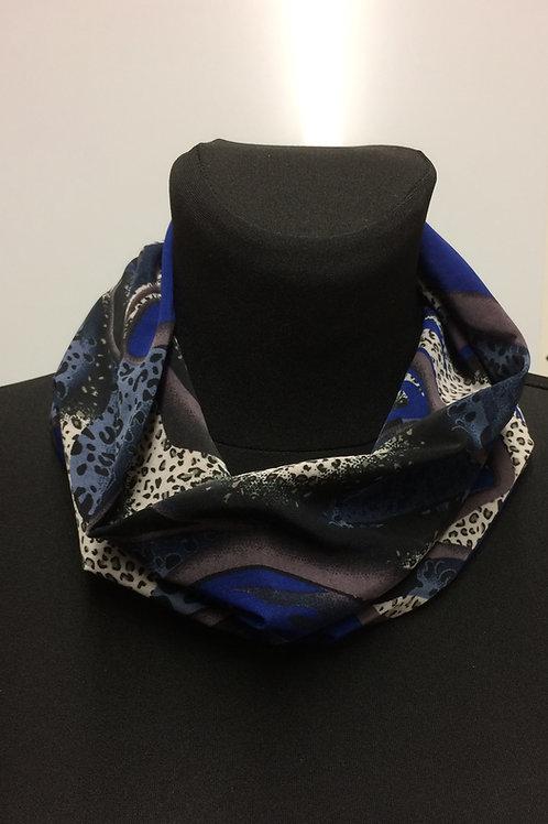 handmade multipurpose snood, neck warmer, Silky knit abstract blue