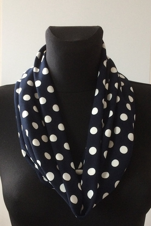 handmade cowl, snood, neck warmer, scarf, polyester lycra navy blue polka print