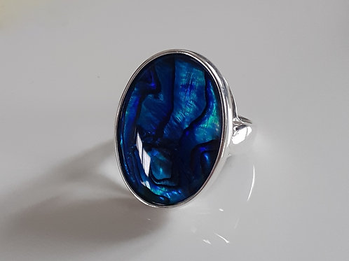 Sterling Silver Large Oval Ring Set With a Blue Abalone Cabochon Sizes L-R