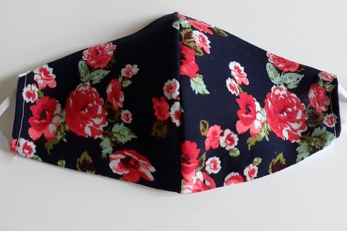 handmade facemask washable re-useable cotton 2 layer rose floral face covering