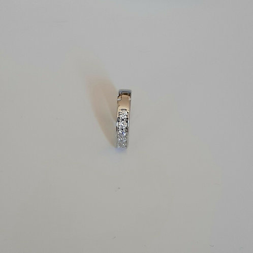 Men's SINGLE 925 Sterling Silver 12mm Cubic Zirconia Huggie Earring