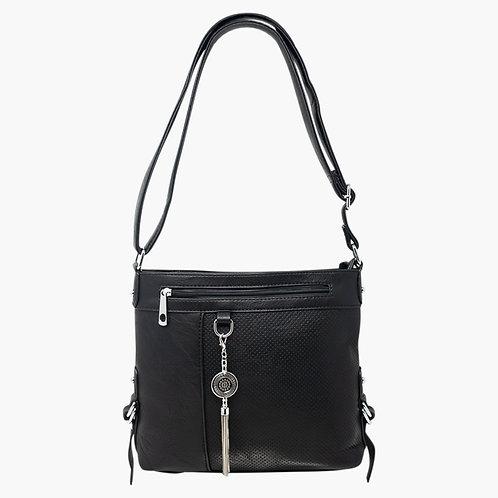 Black faux leather metal chain tassle drop shoulder bag