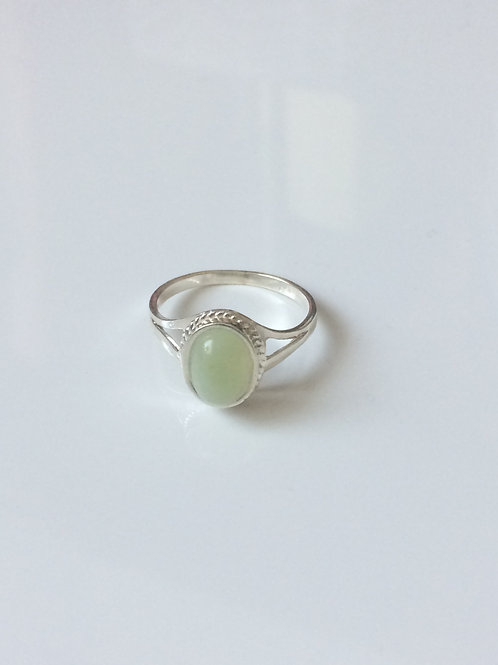 925 Sterling Silver and New Jade Rope Edge Ring Sizes J - R